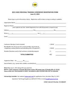 2015 CASSC Registration